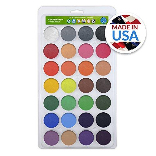 Vegan Face Paint Kit - TOP 28 Color Palette - Face Paints...