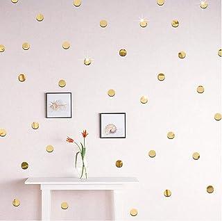 PiniceCore 100pcs / Lot 2cm DIY 3D Espejo de acrílico Etiqueta de la Pared de la Forma Redonda de la Etiqueta Pegatinas Mosaico Efecto del Espejo Salón Decoración de Oro