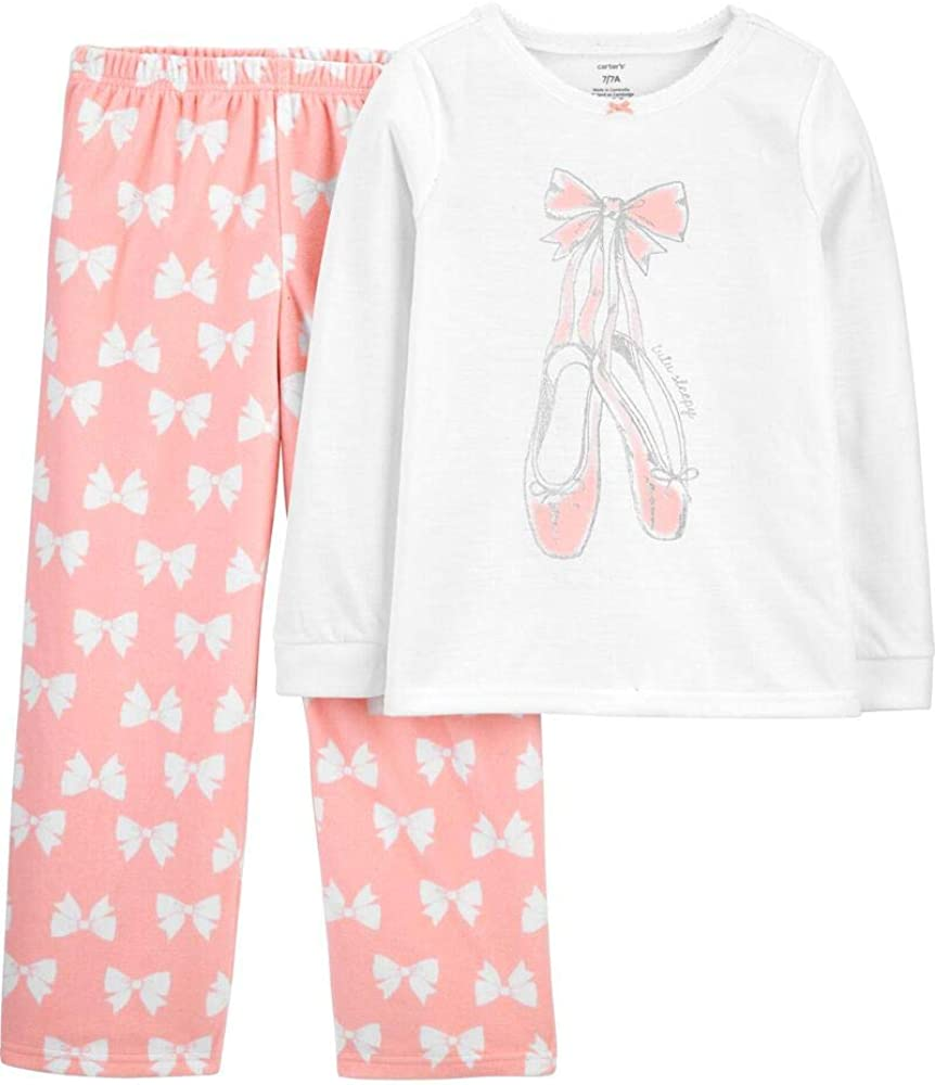 Carter's Girls' 2 Pc Fleece and Snug Fit Cotton PJs, Tutu Sleepy, 5K White