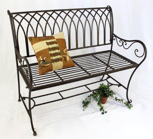 DanDiBo Gartenbank Metall Wetterfest Braun 110 cm Parkbank Romina 2-Sitzer Baumbank Sitzbank