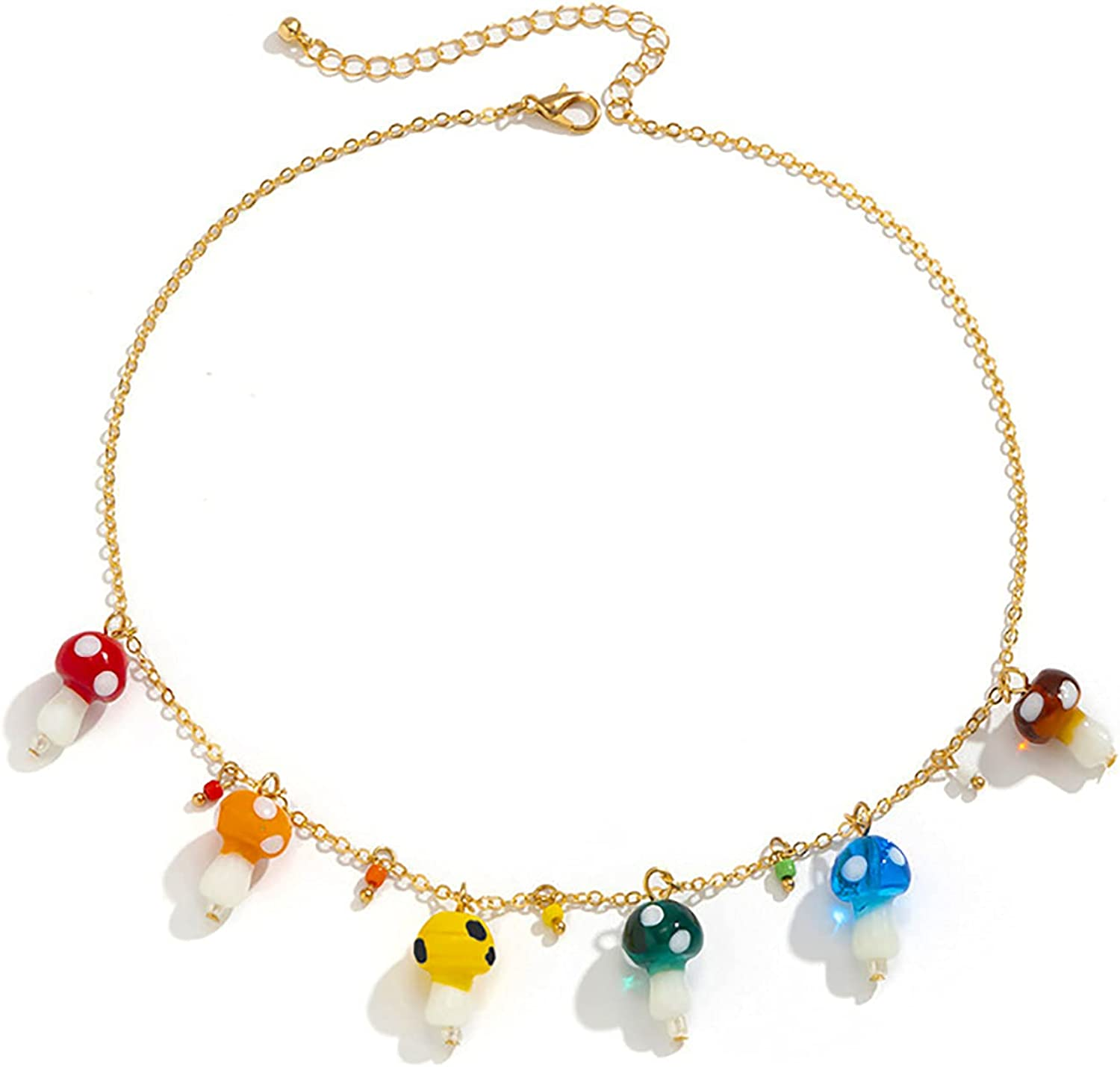 yfstyle Beaded Necklaces for Women Yin Yang Fruit Star Colorful Bead Necklace Smiley Face Pearl Necklaces for Women Girls Mushroom Necklace with Heart Dice Flower Charms Y2K Jewelry Gift