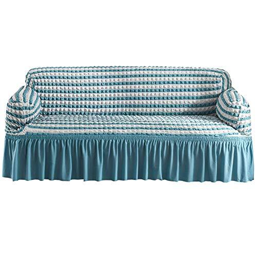 Jonist Funda Universal para sofá, con faldón Funda de sofá Ajustada de 1 Pieza Protector Multiusos para Muebles Tejido Seersucker Lavable de Alta Elasticidad y Durabilidad, Azul y Blanco, 4 Asiento