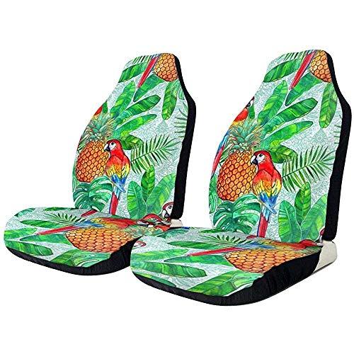 Autostoelhoezen Ananas en papegaaien Tropical Summer Protector kussen premium cover heren jongens geschikt voor de meeste auto's