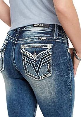 maurices Women's Vigoss Blue Sequin Boot Cut Jean