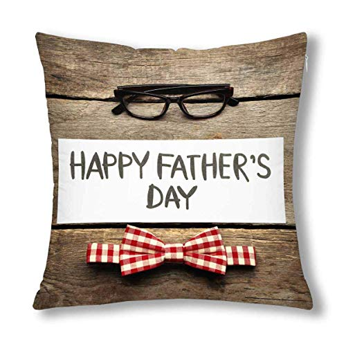 Happy Father's Day in Blue Argyle Latticework Plaid Decor Decorative Pillow Case Cushion Covers, Zippered Throw Pillowcase Protector, 18x18 Inch