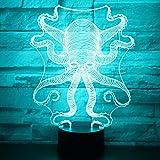 wangZJ 3d llevó la luz de la noche/la lámpara de la ilusión 3d / las luces de la noche óptica / 7 colores de la luz/los juguetes de los niños/el regalo de cumpleaños/el pulpo