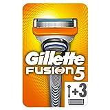 Gillette Fusion 5 - Maquinilla de afeitar para hombre + 3 cuchillas de repuesto con 5 cuchillas antifricción para un afeitado imperceptible