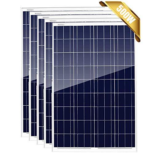 Giosolar Paneles solares policristalinos de 500 W, 12 V, paquete de 5 módulos fotovoltaicos de alta eficiencia, 12 24 voltios, cargador de batería para sistema de red doméstica