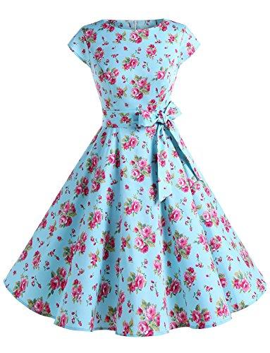 Dressystar Damen Vintage 50er Cap Sleeves Dot Einfarbig Rockabilly Swing Kleider Blau Rot Blume L