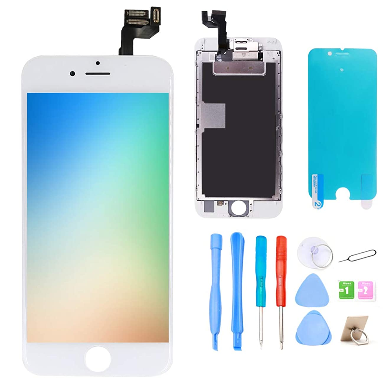 Srinea Screen Replacement for iPhone 6S 4.7'' White, LCD Display Touch Screen with Front Camera, Proximity Sensor, Ear Speaker, Digitizer Frame Assembly and Full Repair Kit for iPhone 6S …