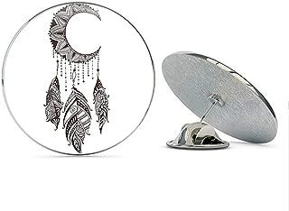BRK Studio Dainty Brown Henna Flower Moon Dream Catcher Drawing Round Metal 0.75