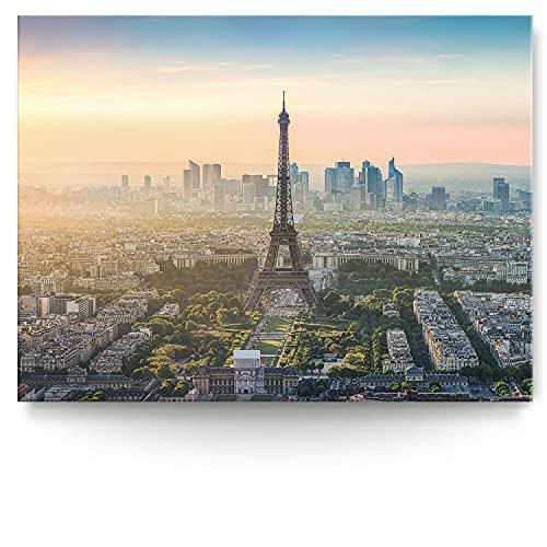BilderKing Intensiv & Impostant 200x150cm großes Leinwand-Bild. Skyline, Paris, Sunset als Wandbild auf 4cm tiefen Keilrahmen. Eindrucksvoller können Sie Ihren Raum Nicht in Szene setzen