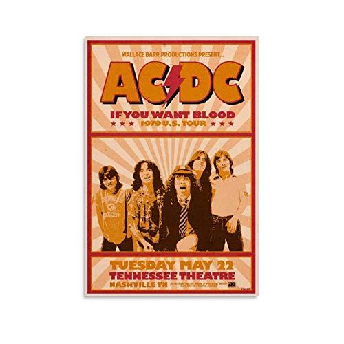KEMS AC DC 1979 Konzertposter, Etsy Poster, dekoratives Gemälde, Leinwand, Wandkunst, Wohnzimmer, Poster, Schlafzimmer, Malerei, 30 x 45 cm