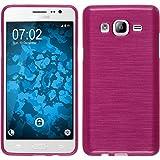 PhoneNatic Hülle kompatibel mit Samsung Galaxy On5 - pink Silikon Hülle Brushed + 2 Schutzfolien