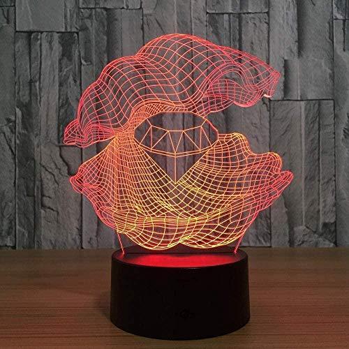 Optische illusions lampen,optische led nachtlicht Shell Diamond Dekoration Tragbare USB-Aufladung oder Batterie,Frohe Weihnachten Geschenke Für Mädchen, Männer, Frauen, Kinder - Berührungsschalter