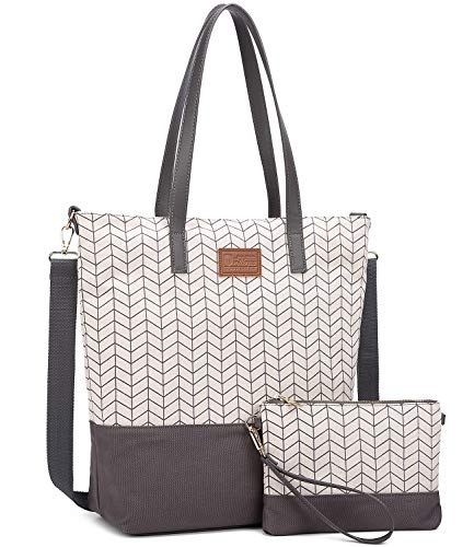 Myhozee Damen Handtasche Canvas Groß Schultertasche Tasche mit Einer Portmonee 2 Sets (Grau01)