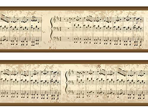 wandmotiv24 Bordüre Notenblatt 260cm Breite - Vlies Borte Tapetenbordüre Bordüren Borde Wandborde Musik Melodie Note M0007