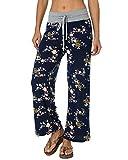 Auxo Mujer Pantalones Anchos Acampanado con Impresiones Florales Casual Palazzo con Tallas Grandes Azul Marino EU 42/Asia XL