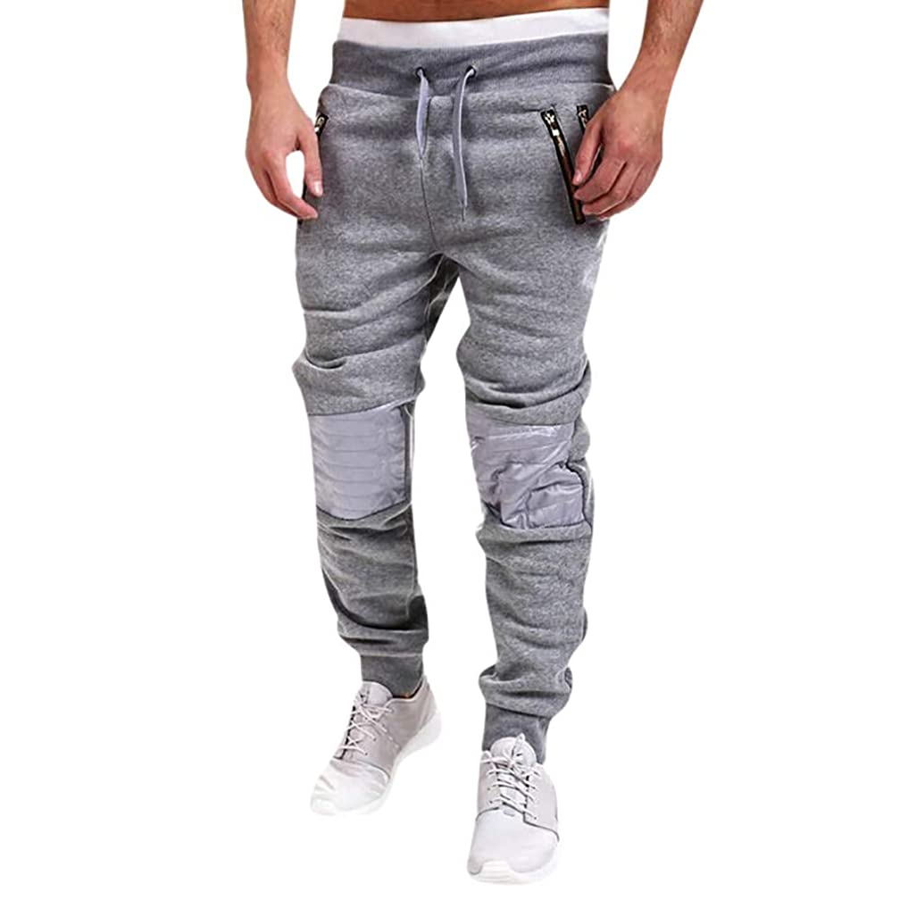 Sale! Teresamoon Fashion Men's Zipper Patchwork Cotton Casual Sweatpants Drawstring Pant