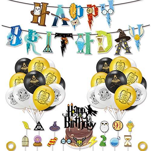 WENTS Zauberer Geburtstag Party Deko 39 Stück Harry Potter inspiriert Cupcake Topper Kuchen Dekoration Ballon Happy Birthday Banner für Geburtstagsdeko Themenparty für Junge, Mädchen, Kind