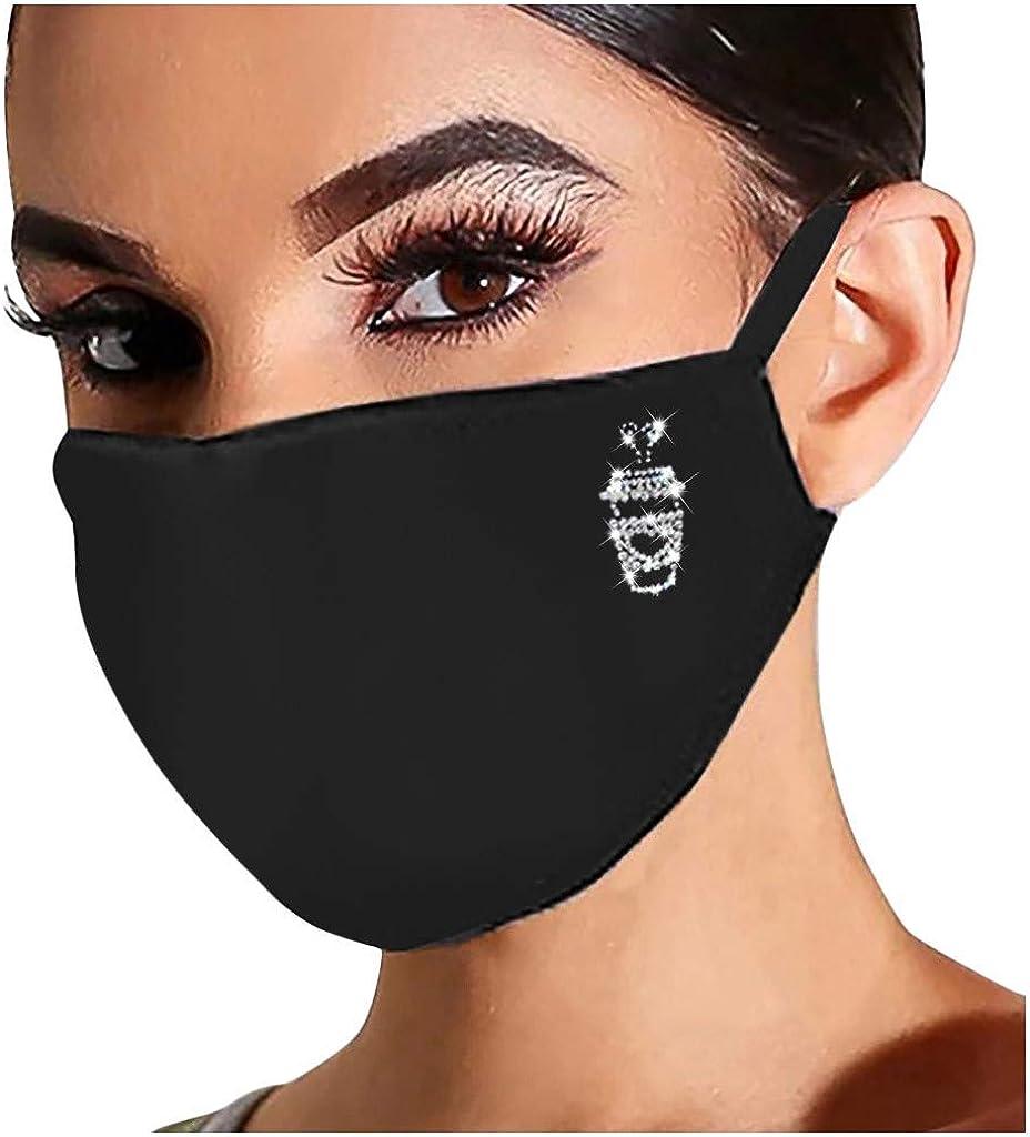 Higlles Gl/änzend Strass Mund Nasenschutz Damen Waschbar Mundschutz mit Motiv Glitzer Wiederverwendbar Atmungsaktiv Mund und Nasenschutz Stoff