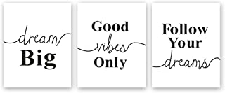 Chsdec Black & White Typography Motivational Lettering Minimal Art Wall Positive Quote Poster,Canvas Inspirational Phrases Set of 3 Art Print(8