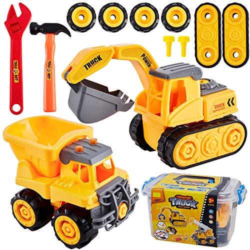 HERSITY Montage Spielzeug Auto Kinder Bagger Kipper LKW Sandkasten Große Spielzeugautos zum Schrauben Geschenk für Jungen 3 4 5 Jahren