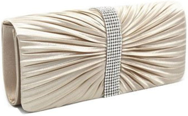 Daisyley Womens Elegant Fold Satin Rhinestones Cocktail Party Handbag Shoulder Chain