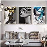 Abstrakte Wandkunst Bilder Frau schmetterling Lippen Gold Und Weiß Schwarz Modern Home Leinwand Malerei Beauty Decor Poster-50x70cm Kein Rahmen