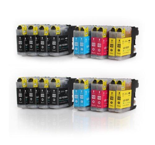 Multipack - 20 XL Druckerpatronen (LC-121/LC-123) kompatibel zu BROTHER (8x BK & je 4x C/M/Y) mit CHIP für Brother DCP-J752DW MFC-J870DW J6920 DW J4110 DW J4410 DW J4510 DW J4610 DW J4710 DW