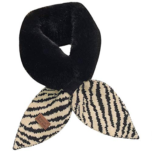 GFBVC Bufanda De Invierno Bufanda de Lana Cosido de Punto, Babero de la Cruz Femenina, niña Salvaje, Bufanda cálida y cómoda, Collar de Peluche Calentar (Color : Black, Size : 85x10cm)