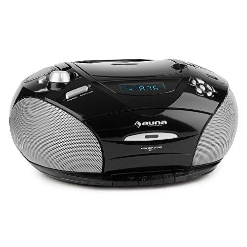 Auna RCD220. Boombox estéreo portátil con reproductor de CD y radiocasete. Con puerto USB para música en MP3y radio integrada. Pantalla LCD, entrada AUX y función despertador. De color negro negro