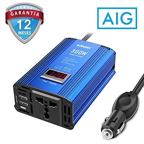 GIANDEL 300W Inversor de Corriente 12V 220V 230V Onda Modificada Transformador de Coche con 4.8A Dual USB Adaptador de Coche con Pantalla LED