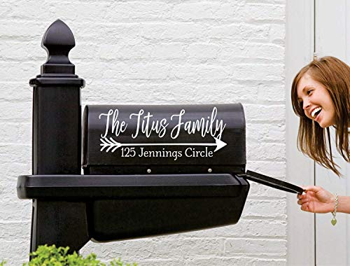 Farmhouse Mailbox Decal | Set of 2 | Name Decal for Mailbox | Mailbox Number Sticker | Personalized Mailbox Decal