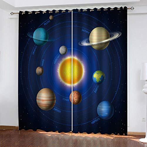 LWXBJX Cortinas Salon Aislantes Termicas Opacas con Ollaos - Sistema Solar Planeta cósmico - Impresión 3D Aislantes de Frío y Calor 90% Opacas Cortinas - 140 x 160 cm - Salon Cocina Habitacion Niño M