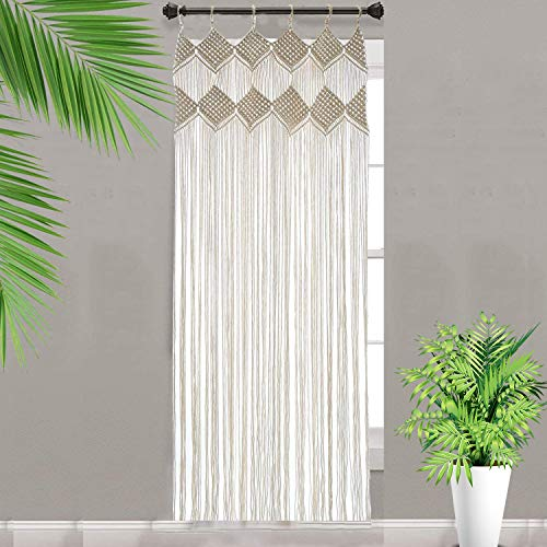"Macrame Curtains for Window Doorway Boho Wall Decor Bedroom Bathroom Divider Bohemian Wedding Backdrop, 31.5"" L x 82.6"" H(No Curtain Rod)"