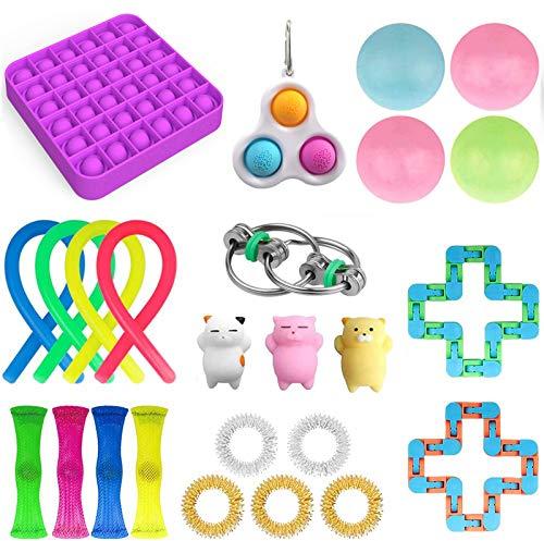 27 Fidget Toy Niños Adultos Juego de juguetes antiestrés, 4 bolas pegajosas Gobbles + 1 Push Pop Pop Bubble + 3 Frijoles + 4 Figet String + Todo en la imagen (25 piezas B)