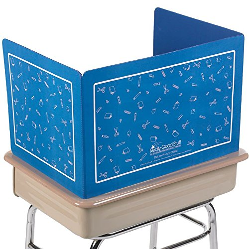 Really Good Stuff Corrugated Plastic Privacy Shield for Student Desks – Privacy Divider Keep Eyes From Wandering During Tests and Assignments – Reduces Distractions, Blue With School Supplies Pattern -14', Blue, Quantity of 1
