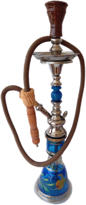 JSG Cachimba EGIPCIA Premium, De 1 Salidas (JSG.HOOKAH) Shisha De 57cm De Altura, 1 Manguera, 1 Pinza, Narguile, Hookah, Pipa De Agua (AZUL)