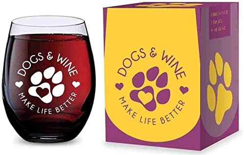 2021 Stemless Wine Glass high quality for Dog Lovers (Dogs online sale and Wine Make Life Better) Made of Unbreakable Tritan Plastic and Dishwasher Safe - 16 ounces online