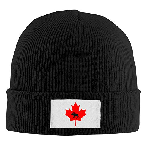 Elk Maple Leaf Canada Flag Unisex Winter Daily Beanies Warm Stretchy Knitted Logo Hats Skulli Caps Black
