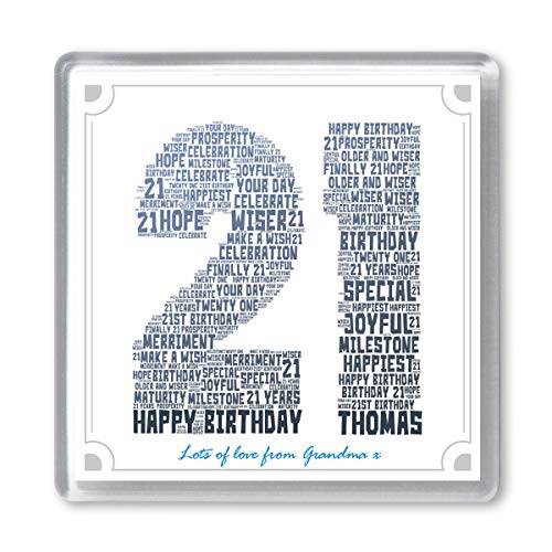 21st Birthday Personalised Word Art Drinks Coaster Gift - Add Any Name & Message. 21 Twenty One...