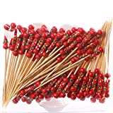 【CLASSICAL AND STURDY】Made of 100% Nature Bamboo, safe and healthy, 100 Counts/Pack. Cocktail Picks with red bead can easily pierce food without shredding or splintering. 【GOOD DECORATION】An innovative and fun way to spice up your food and beverage p...