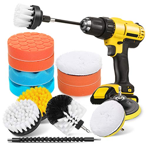HIWARE 16 Pcs Drill Brush Car Detailing Kit - Car Polishing & Buffing Pads Kit - Soft Bristle Power Scrubber with Extend Attachment for Cleaning Car Interior, Boat, Carpet Upholstery, Bathroom
