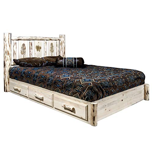 Best Prices! Montana Woodworks Pine Tree Design Laser Engraved Platform Bed in Ready Finish (Full: 8...