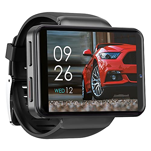 4G Android Smart Watch Phone 2.4'Display Face ID 2000mAh 3GB 32GB 8MP Dual Camera Bluetooth Smartwatch Hombres (Color : Black)