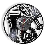 hhhjjj Orologio da Parete in Vinile Adatto per Gli Amanti della Birra e dei gamberi, Dischi CD, Decorazioni per la casa, Bar, Pub, birrerie, Amanti dei Frutti di Mare, Orologi da Cucina