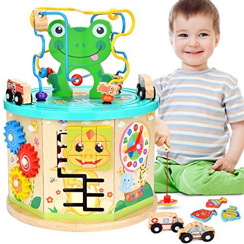 Amagoing Activity Cube, 11 in 1 Baby Educational Toys Wooden Activity Center Bead Maze with Shape Sorter for 1 Year Old Boy and Girl Toddlers