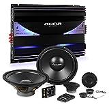 Auna CS-Comp-10 Set Impianto Audio Macchina Car HiFi 6400 Watt (Amplificatore 6 Canali, Crossover, 2 Subwoofer, 4 Casse Altoparlanti)