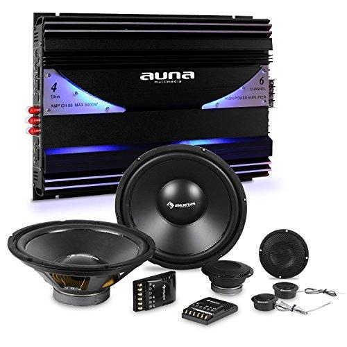 Auna CS-Comp-10 Set Quipo de Audio HiFi para Coche 8600W Potencia Total(Amplificador...